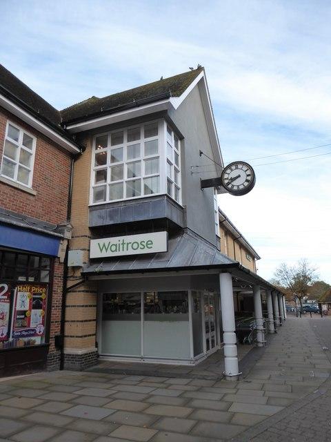 The clock at Waitrose, Rams Walk