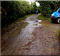SO7708 : Puddles on Hyde Lane, Whitminster by Jaggery