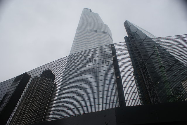 View of Tower 42, 22 Bishopsgate and the Heron Tower from the corner of Leadenhall Street and Bishopsgate