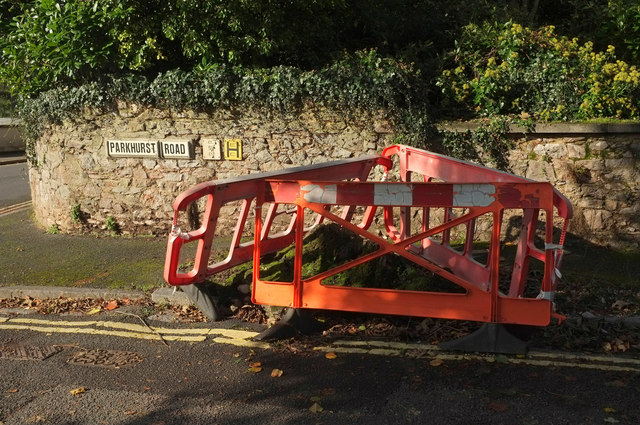Barriers around tree stump, Parkhurst Road, Torquay