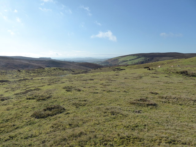 View westward from a burial mound on Cae-glas Hill