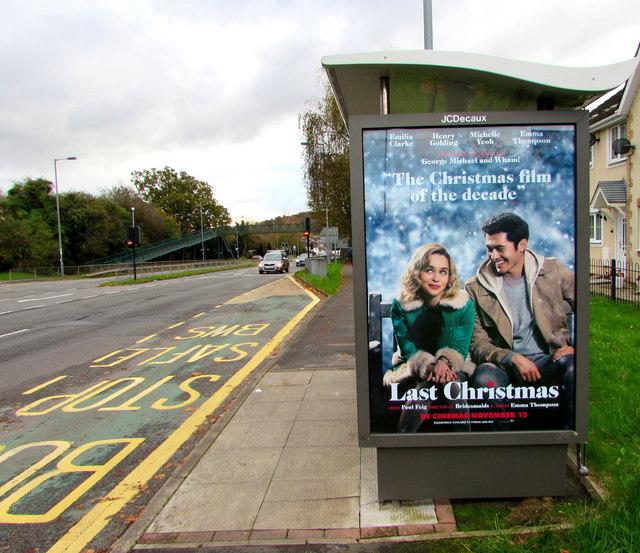 Last Christmas advert on a Malpas Road bus shelter, Newport