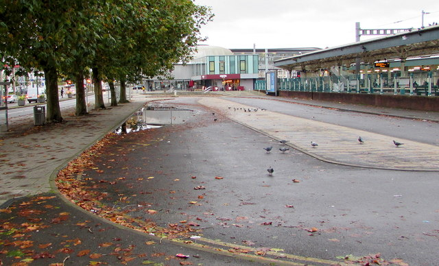 Puddle in Newport railway station taxi rank