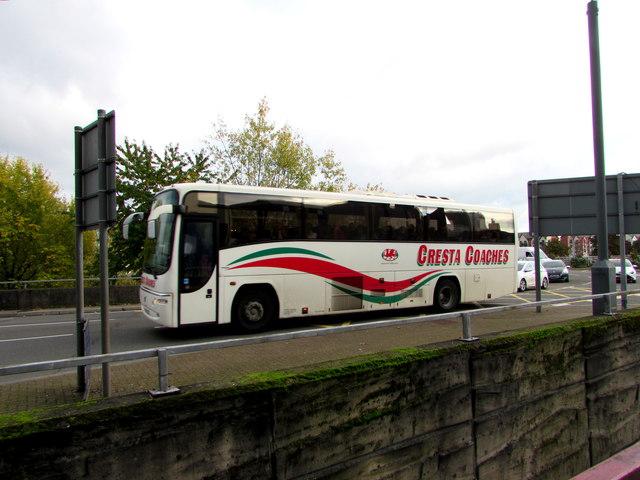 Cresta Coaches coach in Newport city centre