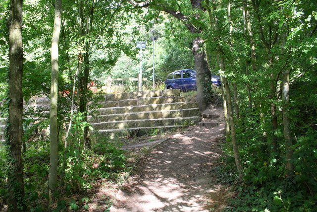 Footpath past end of stepped dam wall of Elsecar Reservoir