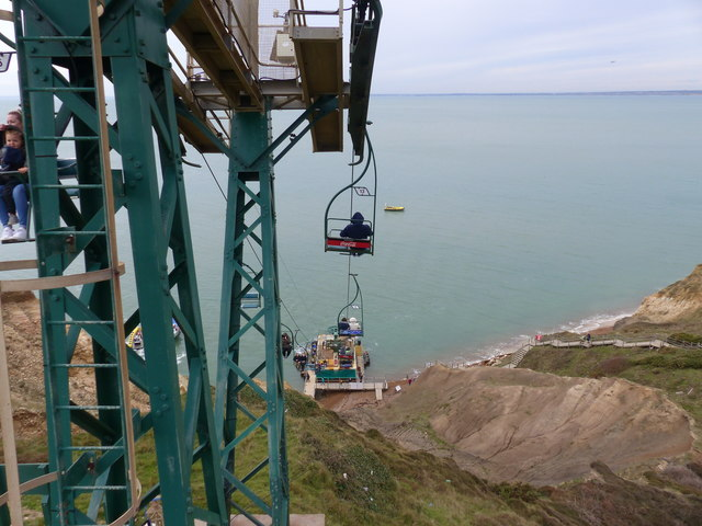 The descent into Alum Bay via the chairlift, Isle of Wight