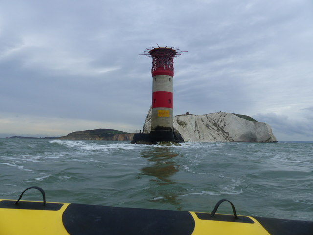The Needles lighthouse from a RIB boat, Isle of Wight