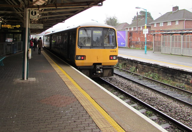 Class 143 Penarth train in Caerphilly station