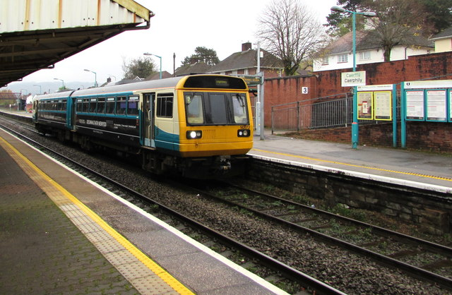 Rhymney train arriving at Caerphilly station platform 3