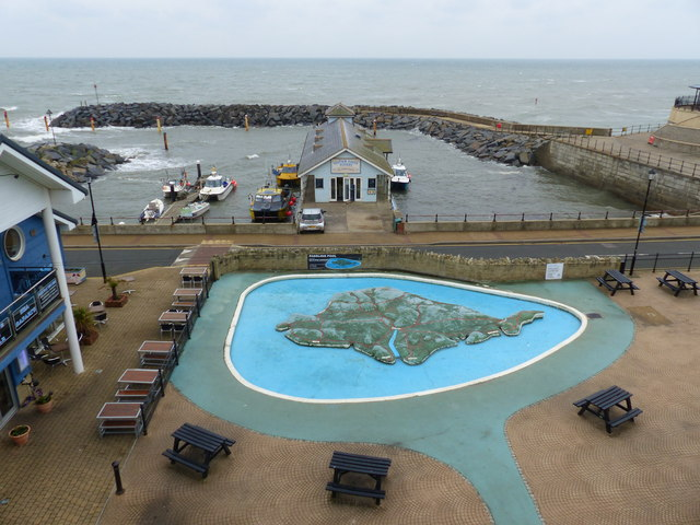 Harbour seen from outside the Winter Gardens, Ventnor, Isle of Wight