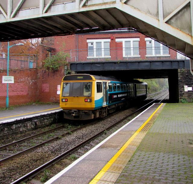 Rhymney train leaving Caerphilly station platform 3