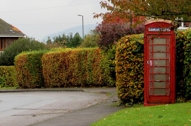 Red phonebox, The Close, Whitminster