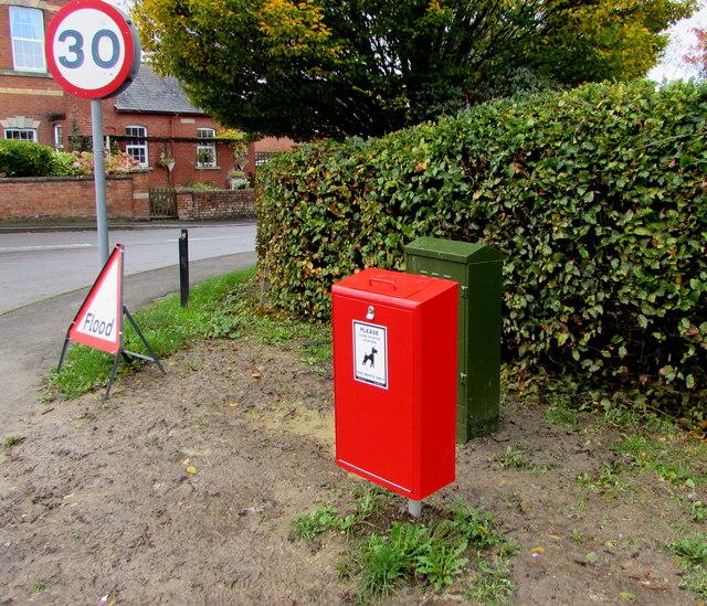 Red bin on a Whitminster corner