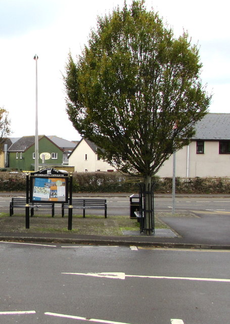 Llantwit Major information board and benches