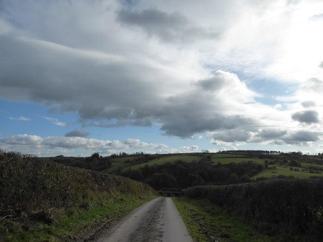 Lane down to Llanbister village