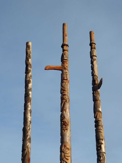 New totem poles in position (detail)