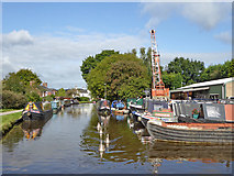 SJ8934 : Canal and boatyard in Stone in Staffordshire by Roger  Kidd