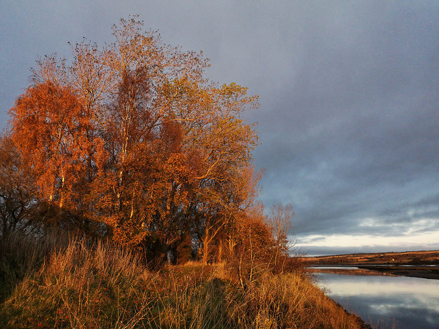 Path beside the River Conon at sunset