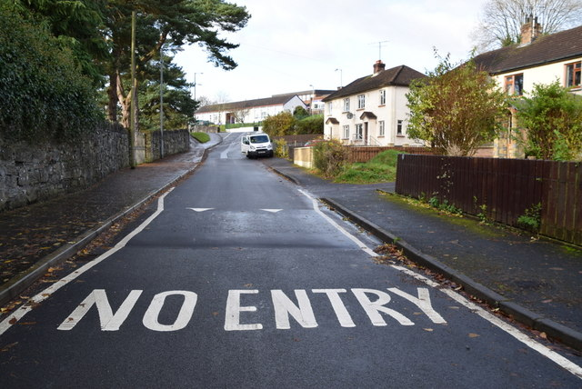 No entry marking along Brook Street, Omagh