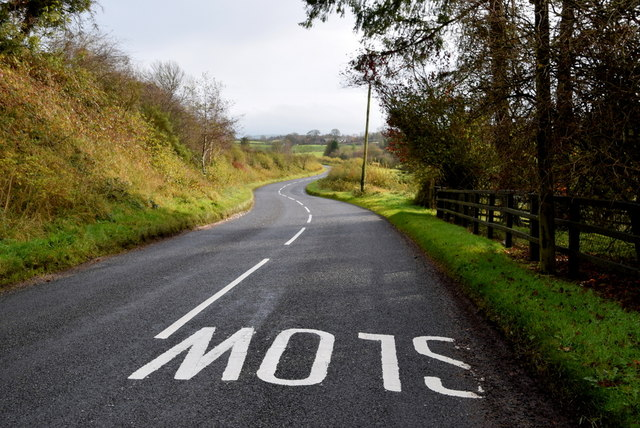 Slow marking along Donaghanie Road