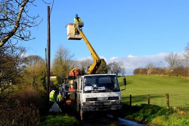 Temporary telephone line diversion, Dreenan Road