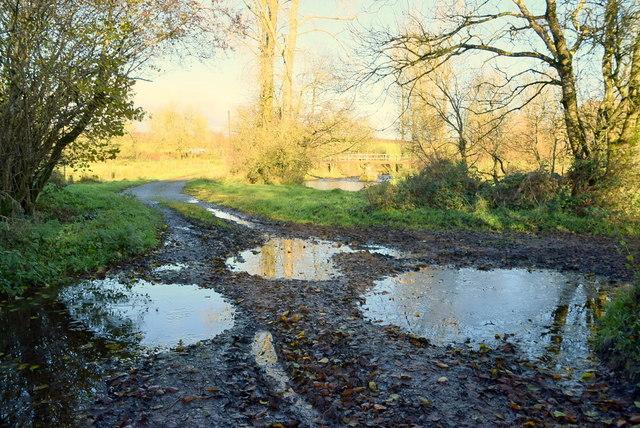 Icy puddles on a rough lane, Bancran