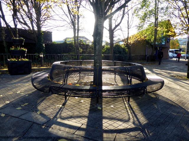 Circular seat and shadows, Omagh
