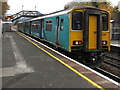 SO4383 : Swansea train in Craven Arms station by Jaggery