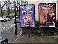 SO4593 : Global adverts, Sandford Avenue, Church Stretton by Jaggery