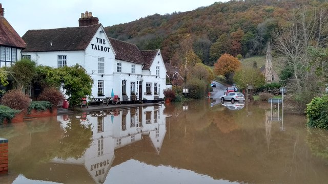 The Talbot at Knightwick after November 2019's floods