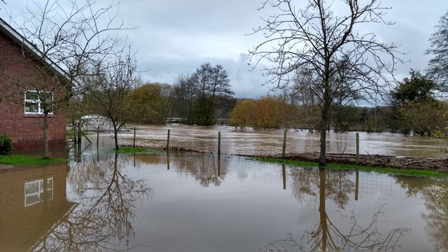River Teme in flood at Knightwick Surgery