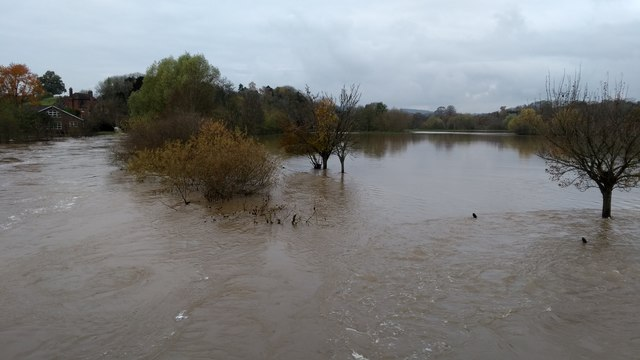River Teme in flood at Knightwick
