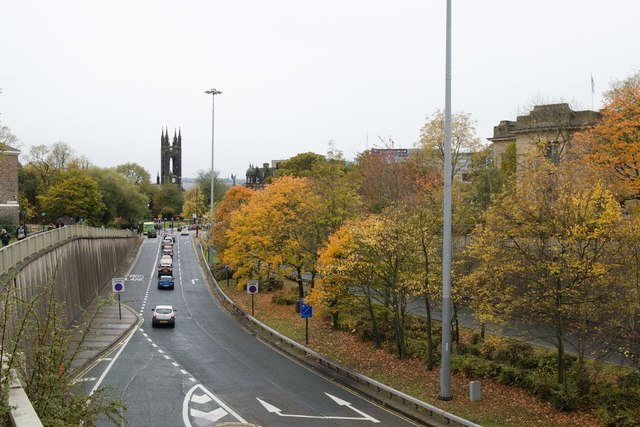 Great North Road approaching Barras Bridge