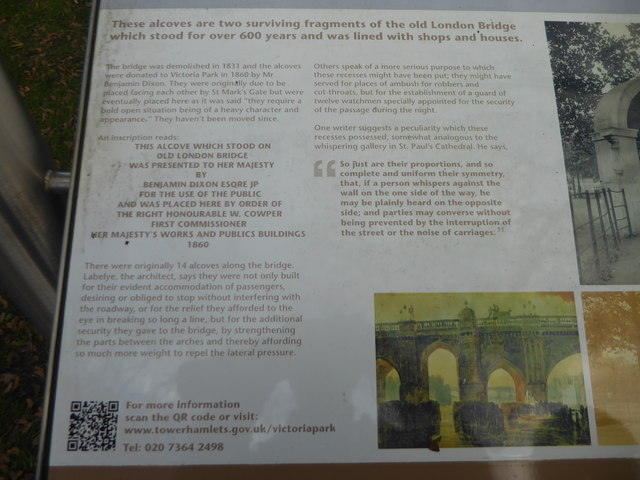 Information board about the alcoves in Victoria Park