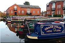 SP7287 : Moored narrowboats at Union Wharf, Market Harborough by Mat Fascione