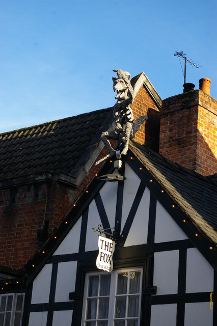 Oswestry: decoration on the gable of the Fox pub, Church Street