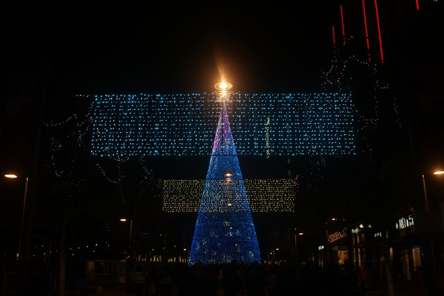 View of The Hopeful Tree and Murmuration of Hopes illuminated for the Wembley Winterfest