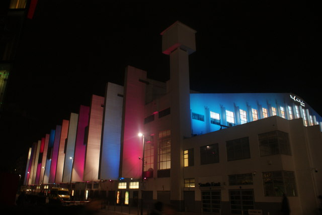 View of the SSE Wembley Arena illuminated at night