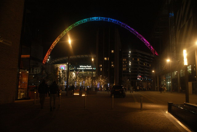 View of the Wembley Stadium arch from Market Square