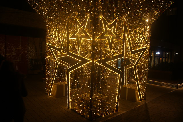"""View of """"Starbox"""" illuminated in the Wembley Winterfest"""