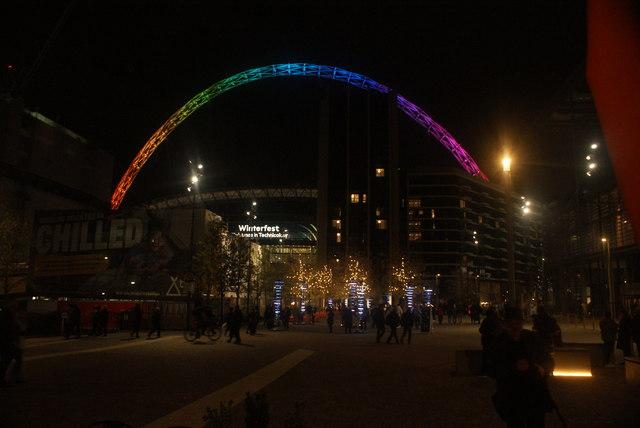 View of the Wembley Stadium arch and Illumaphonium Halos at Wembley Winterfest