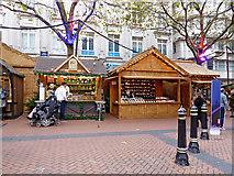 SP0686 : German Market stalls in New Street, Birminghm by Roger  Kidd