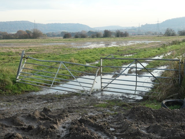Entrance to a flooded field, Lordship Marsh