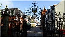 SJ3350 : Wrexham - St Giles Church Gates & Church St by Colin Park