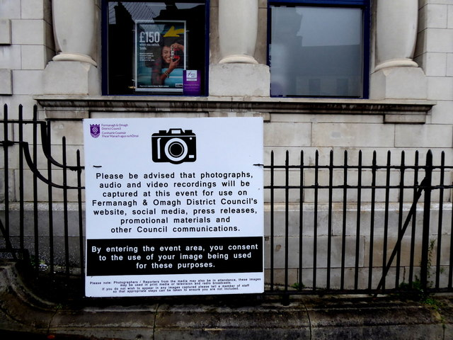 Photography notice, High Street, Omagh