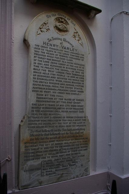 Memorial to Henry Varley, Union Street, Brighton