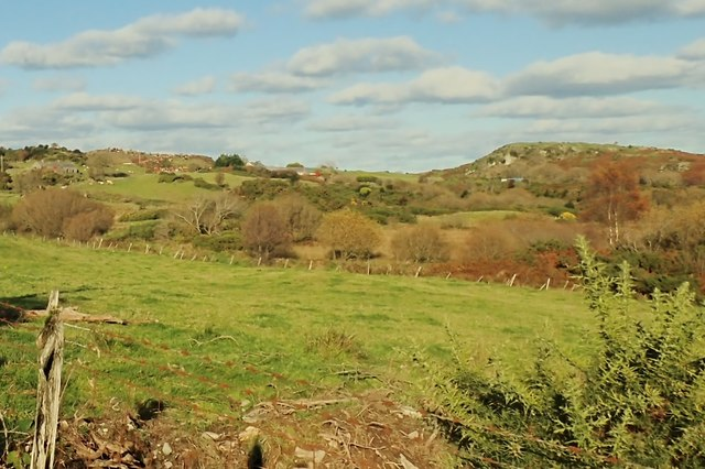 Dunmore Mountain viewed across the Black Lough Fen from the Carnreagh Road