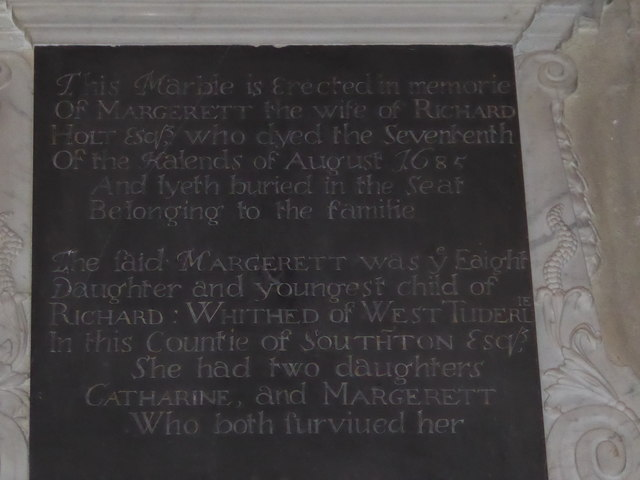 St Mary, Buriton: late 17th Century memorial