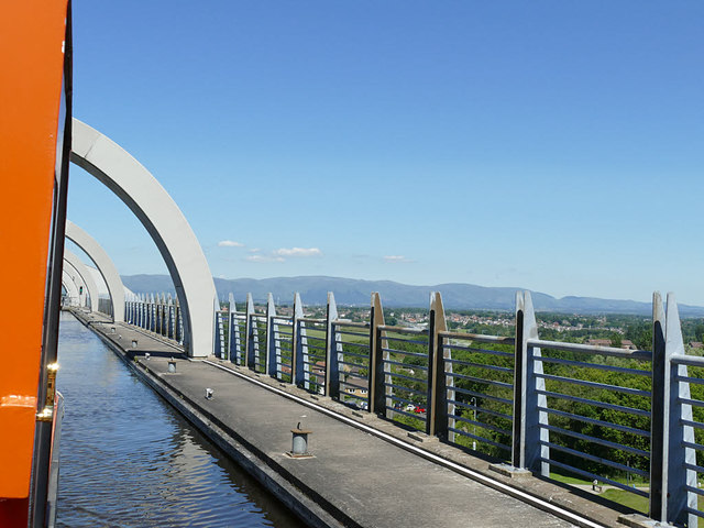 Falkirk Wheel aqueduct from a boat