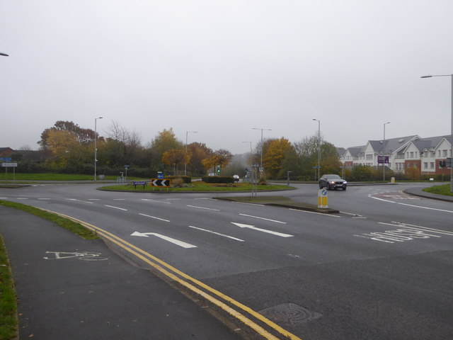 Roundabout at the junction of B4636 and B4638